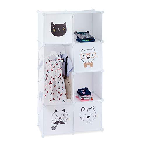 Relaxdays Estantería Infantil, Gatos, Siete Compartimentos, Perchero, Armario, 145 x 74 x 36,5 cm, Blanco