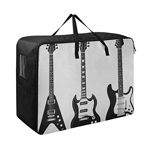 LIBILINGOO Girls Clothes Organizer Guitar Music Fan Art Under Bed Dorm Storage 70 X 50 X 28 cm Quilt Bedspread Pillow Luggage Moving Tote Garment Closet Storage Organizer