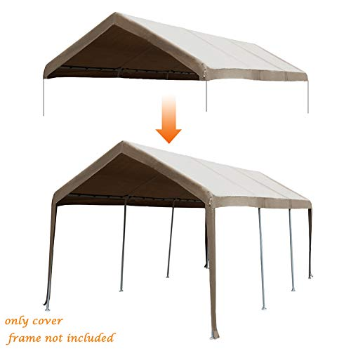 Abba Patio 10 x 20-Feet Carport Replacement Top Canopy Cover for Garage Shelter with Ball Bungees,...