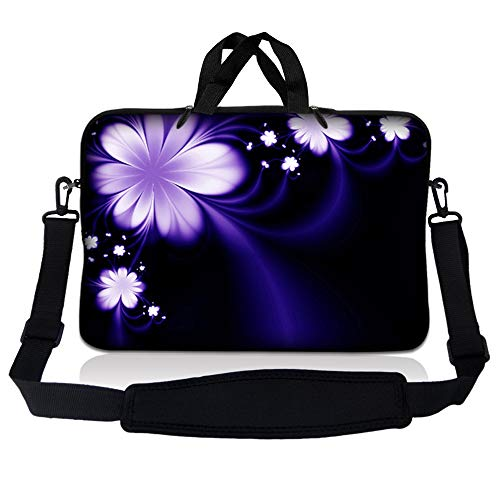 LSS 15.6 inch Laptop Sleeve Bag Compatible with Acer, Asus, Dell, HP, Sony, MacBook and more | Carrying Case Pouch w/ Handle & Adjustable Shoulder Strap,Purple Flower Floral