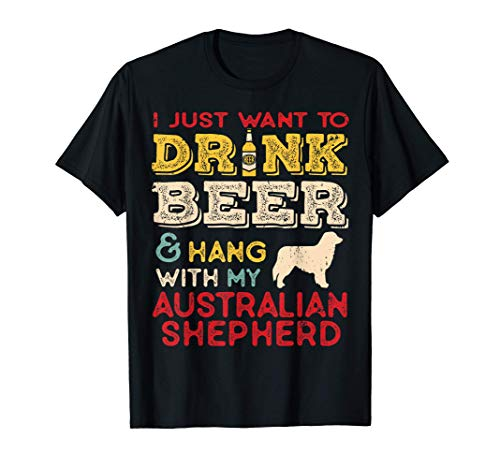 Pastore Australiano Papà Beer Drink Hang Birra Hang con Vint Maglietta