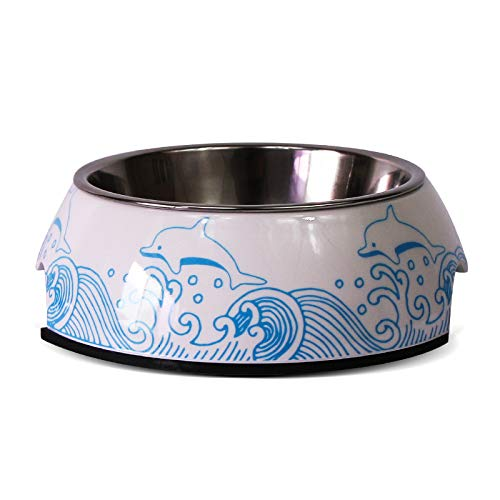 WBZ Stainless Steel Dog Bowl Anti-Slip Pet Bowl Dog Food Bowl A Bowl of Two-use Dog Bowl Cat Bowl. Large. Dolphins Play with Water.