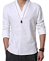 Cafuny Mens Long Sleeve V Neck Natural Linen Popover Shirt Casual Henley T Shirt Top XS White