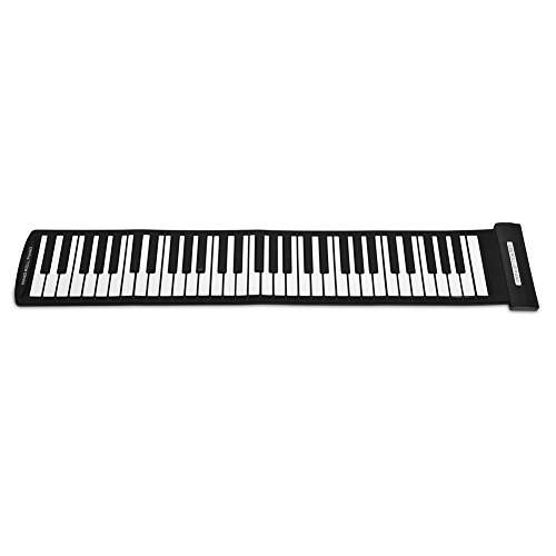 Piano enrollable portátil de 61 teclas, plegable, suave, elástico, flexible, electrónico, música,...