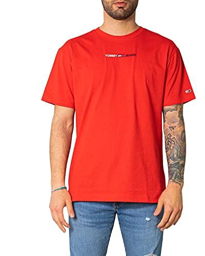 Tommy Jeans TJM Linear Logo tee Camiseta, Carmesí profundo, L para Hombre