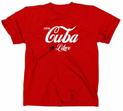 Viva Cuba/Cuba Libre T-Shirt, Fidel Castro, révolution XL Rouge