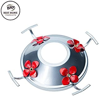 Hummingbird Feeder Metal Base with Perch & Tray | Replacement for Many Glass Feeders | By Best Home Products (Silver w/ Red Flowers)