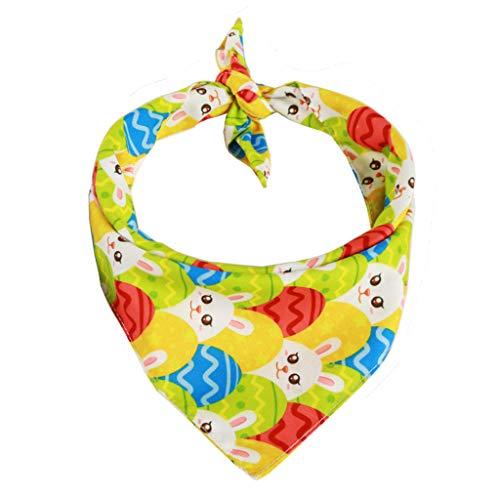 Qirun Producto de Suministros para el hogar, pañuelo para Perros de Pascua, Conejito Colorido, Conejito, Estampado de Huevos, Baberos Triangulares, Bufanda, Toalla
