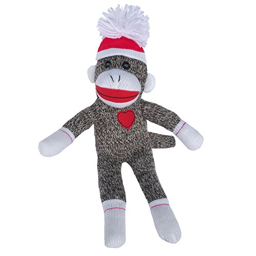 Sock Monkey Plush by ColorBoxCrate 12 Inch Classic Brown Sock Monkey, Embroidered Heart on Sock Monkey Chest, Classic Heather Brown Sock Monkey with Red Tossle Hat and Stitched Red Heart, Perfect Gift