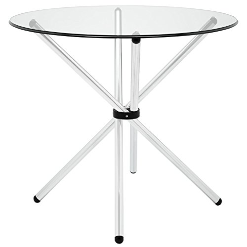 Modway Baton 36' Modern Kitchen and Dining Table with Round Glass Top and Stainless Steel Base