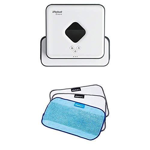 iRobot Braava 390t Wischroboter, intelligente Navigation, 2 in 1: Trocken- und Feuchtreinigung, Ideal für mehrere Räume und große Flächen + Mikrofasertücher (strukturiert/glatt) 3er-Set