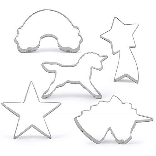 Juego de cortadores de Galletas Unicornio de 5 Piezas, moldes de Galletas Unicornio, cortadores de sándwich con Forma de Unicornio para la Fiesta de cumpleaños Infantil o Fiesta temática Unicorn