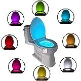 LED-Toilettenlicht, bewegungsaktiviertes WC-Nachtlicht, 8 Farbwechsel, wiederaufladbares WC-Nachtlicht, Toilettensitz-Schüssel-Licht, weiß