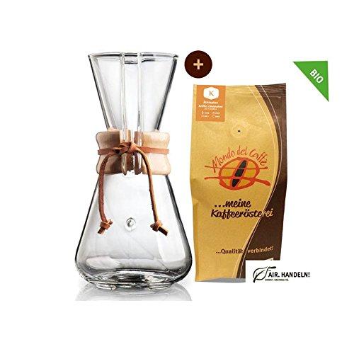 Chemex Cafetera–Juego de jarra para 1A 3tazas (450ml) con 250g filtro de café, Mondo del Caffè (Chemex Drip Coffee Maker de 13Cup)