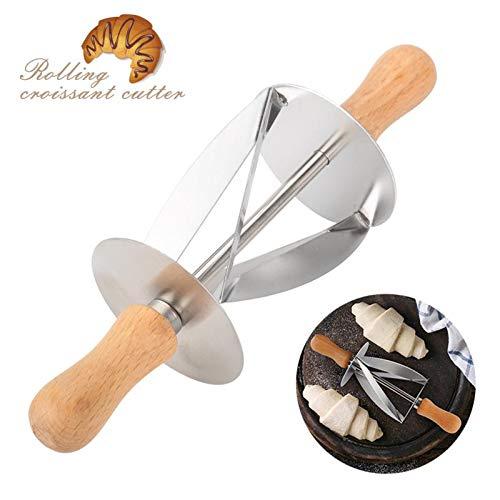 Pastry Cutters - RVS Brood Deeg Gebak maken Croissant Rolling Cutter met Houten Handvat - Vormen Cutters Supplies Taarten Gebak Ronde Pastry Cutters Cutter Roll Deeg Brood Spatula