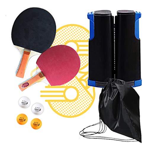 ZHLONG Mesa de Ping Pong Set, Ligero, Plegable Sistema del Estante Neto portátil, Contiene Equipo del Tenis, y una Bolsa de Almacenamiento,Grey/Blue