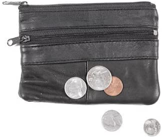 L.I Lambskin Small Leather Deluxe Coin Purse   2 Zippered Change Pouch with Zipper for Men & Women
