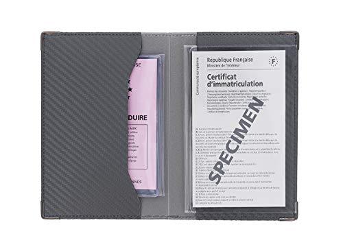 Sans 550067 - Porta carta per auto, finitura in carbonio, Grigio Scuro