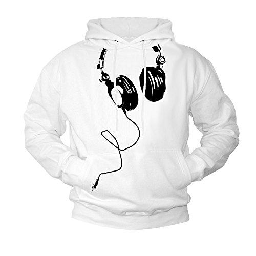Makaya Sweat a Capuche Blanc DJ Casque Noir Homme L