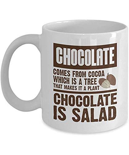 Schokolade kommt vom Kakao, der ein Baum ist. Das macht es zu einer Pflanze. Schokolade ist Salat-Kaffeetasse