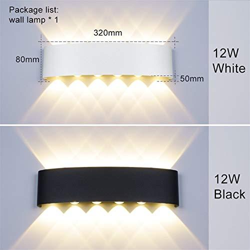 GZSC wandlamp Nordic IP65 LED aluminium buitenwand muur up down lichten modern voor thuis trappen slaapkamer nachtkastje badkamer verlichting (kleur: wit body, maat: 12 W)