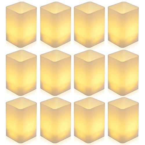 PChero 12st LED Flikkerende Vlamloze Kaarsen Batterij Aangedreven LED Theelichtjes voor Verjaardag Bruiloft Festival Huis Decoratie [Batterij Inbegrepen, Warm Wit]