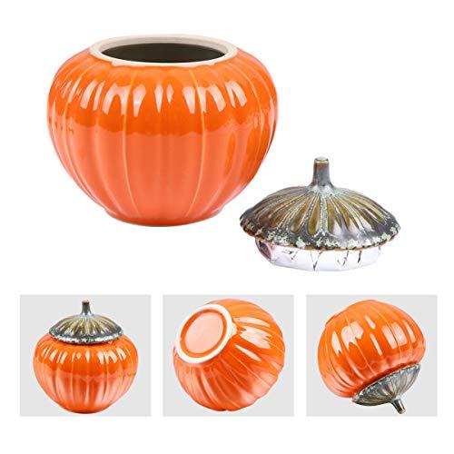 NUOBESTY Pentola per La Conservazione della Zucca 1 Pz 9 X 8. 5 X 8. 5 Cm Pentola in Ceramica a Forma di Zucca Contenitore per La Cucina Contenitore per La Decorazione del Ringraziamento