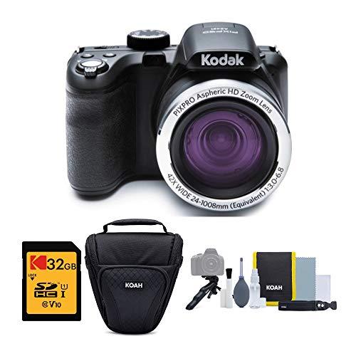 KODAK PIXPRO AZ421 Astro Zoom 16MP cámara digital con zoom óptico de 42x (negro) paquete con tarjeta de memoria SD de 32 GB y bolsa con funda (3 unidades)