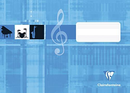 Clairefontaine 31514C Notenheft ideal für Musikunterricht, DIN A5 quer, 8 Blatt, 90g, 1 Stück, türkis