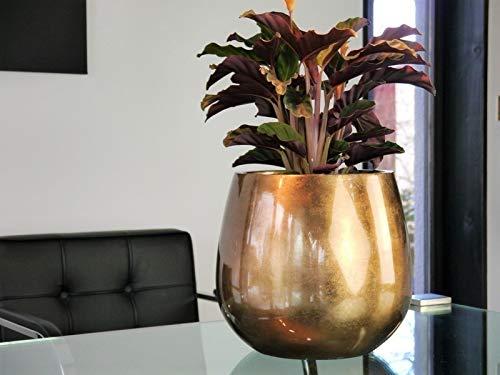 Blumenkübel YORO aus Fiberglas in Hochglanz Bronze - Größe (ØxH): Ø32x28 cm, Pflanzkübel Pflanztöpfe