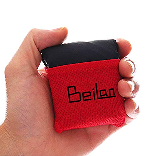 BeiLan Mini Pocket Picnic Blanket Durable Lightweight Waterproof Sand Proof Beach Camping Travel Mat with Portable Bag for Outdoors Activities (70 * 110cm, Black & Red)