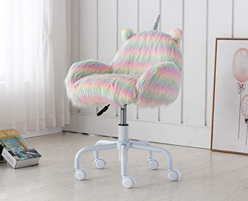 DUOMAY Cute Unicorn Kids Desk Chair with Arms, Swivel Rolling Ergonomic Computer Chair for Girls' Reading and Study, Rainbow Faux Fur Vanity Desk Chair