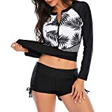 Zando Womens Long Sleeve Rash Guard Zipper UV Protection Surfing Athletic Tankini Set Two Piece Swimsuit Bathing Suit Black Leaf M