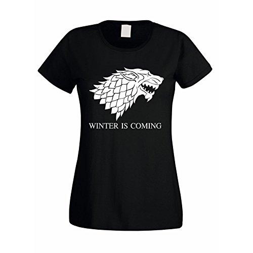 Damen T-Shirt Game of Thrones Winter is Coming Schattenwolf Wolf, M, schwarz-Weiss