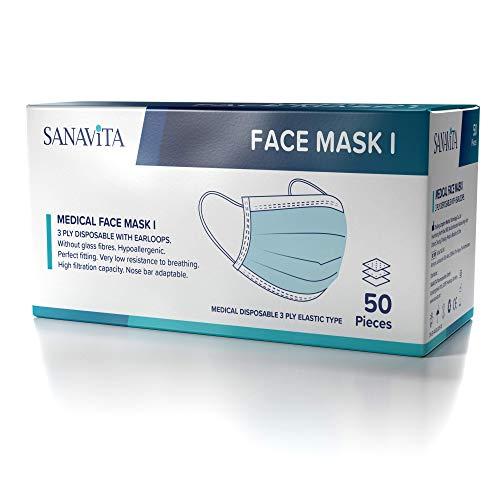 SANAVITA Medizinische Gesichtsmasken Typ I (CE-zertifiziert)   Mundschutz Masken   Mund-Nasen-Schutz   50 Stück