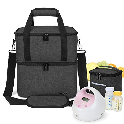 Find Discount Luxja Breast Pump Bag with 2 Insulated Compartments for Breast Pump and Cooler Bag, Pu...