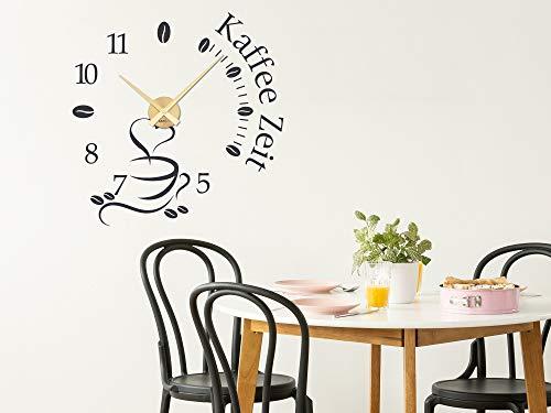 GRAZDesign Wandtattoo Uhr Kaffee Zeit Küche, Wanduhr Küchenuhr / 58x57cm / schwarz/Uhrwerk Schwarz