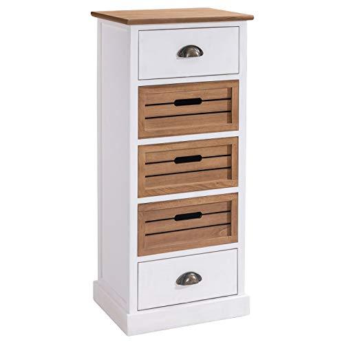 CARO-Möbel Kommode CULTURA im eleganten Vintage Design - Anrichte Standregal mit 5 Schubladen, weiß/braun