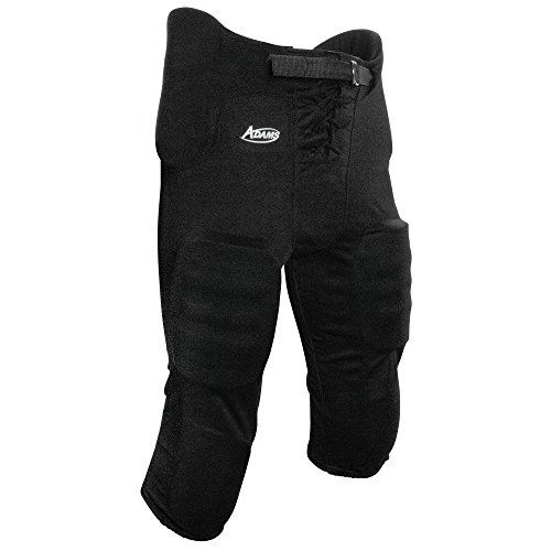 Adams Youth Football Practice Pant with Sewn In Pad-(7 piece pad set) (Black, Large)