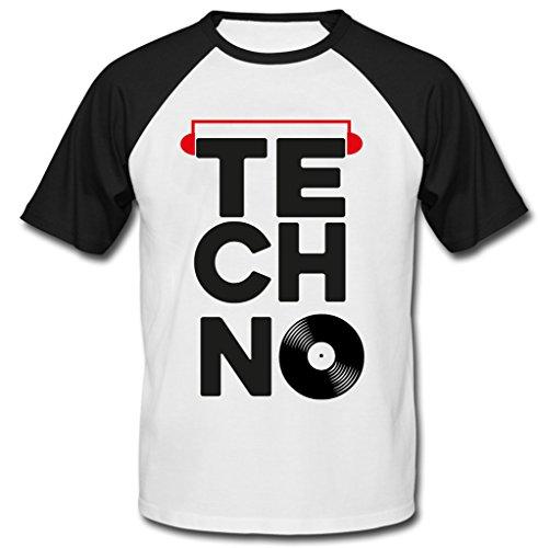 teesquare1st Techno Vinyl 2 Camiseta DE Mangas Negra Cortas T-Shirt