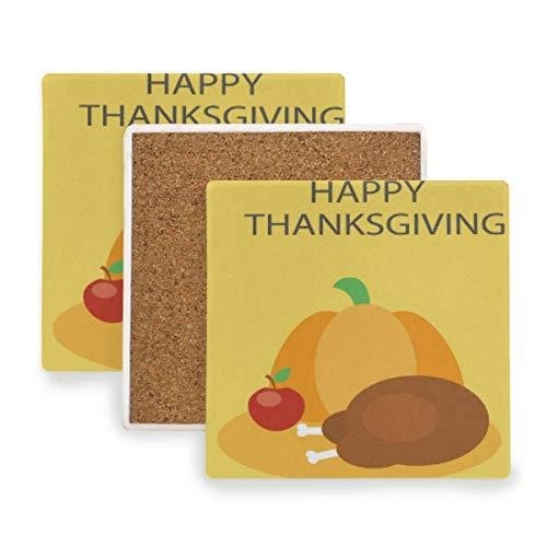 FANTAZIO Thanksgiving Ham Cup Mat Coaster voor Wijnglas Thee Coaster met Varying Patronen Geschikt voor Soorten Mokken en Bekers 2 pieces set 1 exemplaar