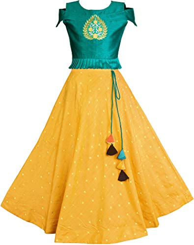 Fashion Dream Girl's Jacquard & Silk Readymade Lehenga Choli (Kayra LC Set Rama Yellow 5-6 Years_Teal Green & Yellow_5-6 Years)