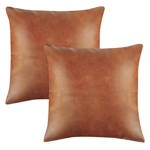 Fixwal Faux Leather Throw Pillow Covers, Set of 2 Brown Modern Couch Cushion Covers for Couch Bed Sofa 18 x 18 Inches
