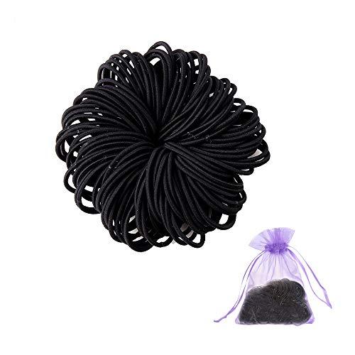 SENDILI Elastische Haargummis - 100 Stück Haar Krawatten Bands Seil Keine Falte Kein Metall für alle Haartypen Durable Strong, Schwarz, 100 Stück/Pack