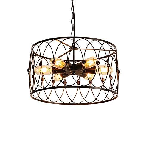 Hai Ying hanglamp met 5-spots plafondlamp en kooi van industrieel ijzer, E27