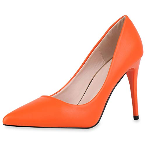SCARPE VITA Damen Spitze Pumps Klassische Stiletto Schuhe High Heels Absatzschuhe Leder-Optik Partyschuhe 186270 Orange 41