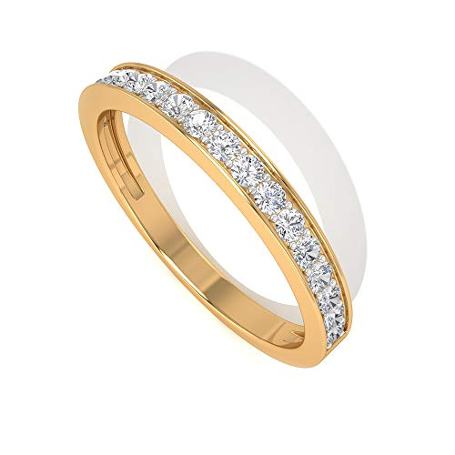 Anillo minimalista de moissanita, anillo de media eternidad, anillo de oro sólido, anillo de 1/4 ct, anillo de boda apilable para mujeres, 18K Oro amarillo, Size:EU 50