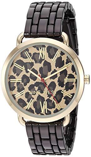 Nine West Women's Gold-Tone and Gunmetal Bracelet Watch, NW/2151LEBK