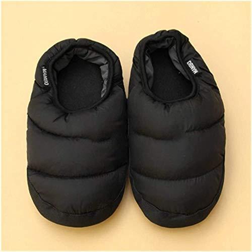 ZHEYANG Pantuflas para mujer coloridas y cálidas para parejas, de algodón, para hombres y mujeres, para interiores (color: naranja, talla de zapato: 11) (color: negro, talla: 44)