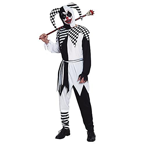 Disfraz Bufón Siniestro Adulto [Talla M]【Tallas S a L】【Traje Clown con Gorro Arlequín Halloween】 Disfraces Halloween para Hombre